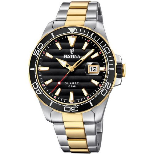 F20362/2 Festina Mens Black Two Tone Round Bracelet Watch